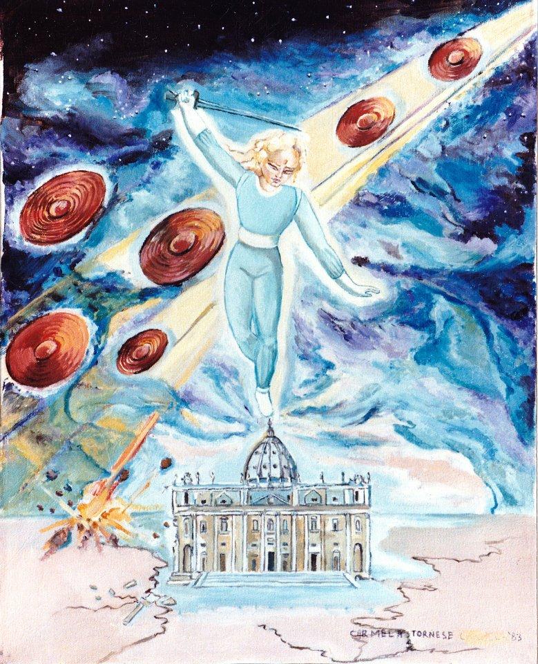 Dipinto di Carmela Tornese sulla chiesa e l'arcangelo michele