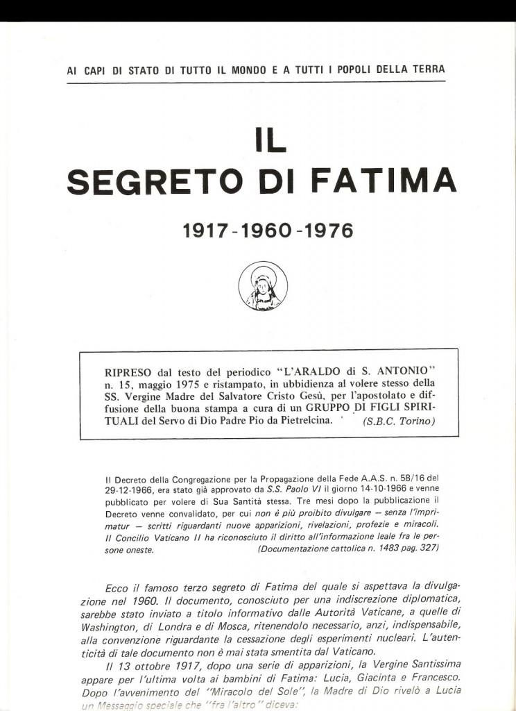 Il Segreto di Fatima 1