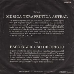Musica terapeutica astral retrocopertina